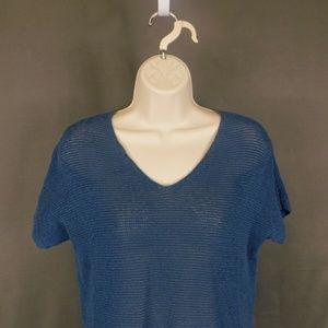 J. Jill XS Cotton Blue Short Sleeve Sweater Blouse